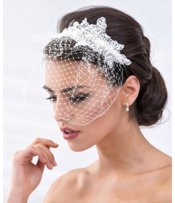 Haarband van kant met netje BBC119 - The Beautiful Bride Shop
