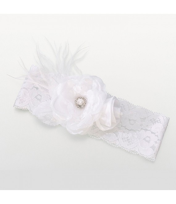 Lillian Rose Brede witte vintage kousenband van kant - The Beautiful Bride Shop