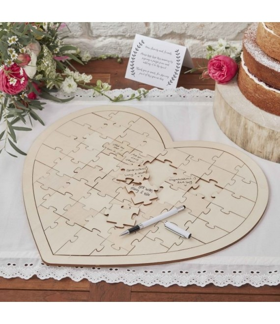 Puzzel hart Gastenboek  - The Beautiful Bride Shp