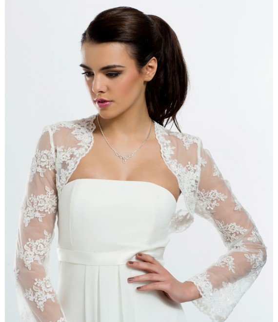 Prachtige Bolero van kant met lange mouwen BBC-E94- The Beautiful Bride Shop