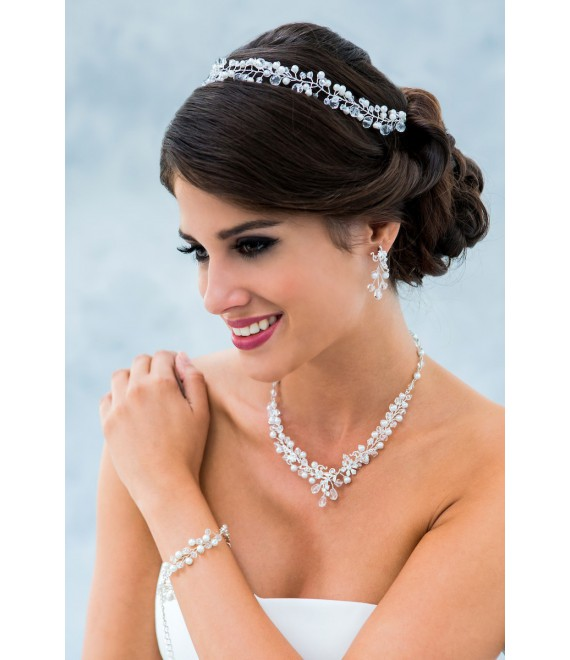 Witte kousenband set met kirstallen LG530W - The Beautiful Bride Shop