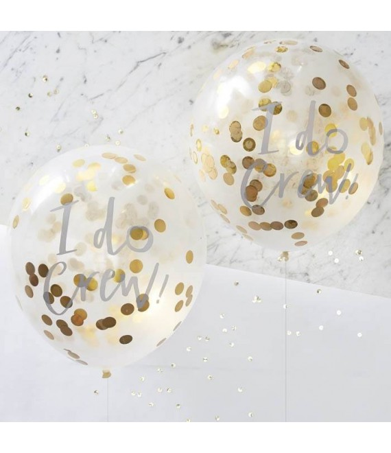 I Do Crew! Confetti Ballonnen Goud 1 - The Beautiful Bride Shop