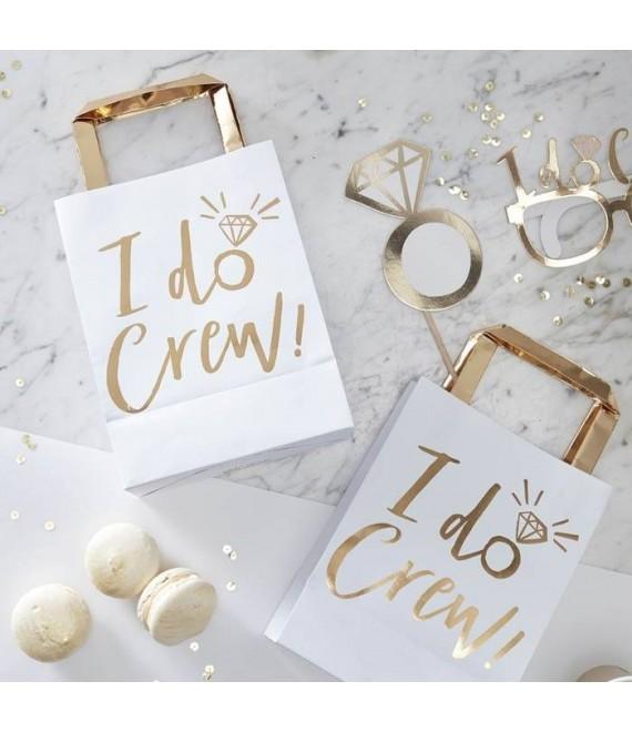 I Do Crew! Uitdeelzakjes wit-goud 1 - The Beautiful Bride Shop