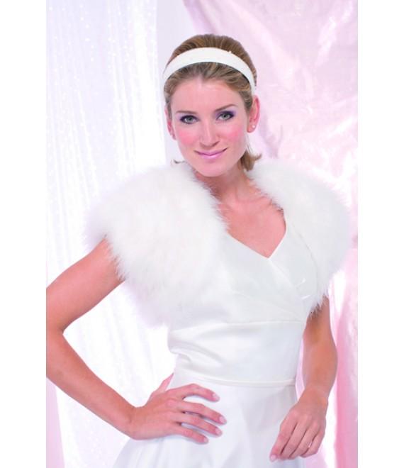 Achberger jasje van maraboeveertjes 5680221 - The Beautiful Bride Shop
