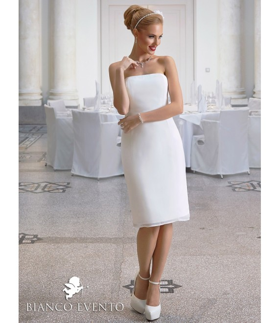 Korte strapless trouwjurk Ortensia Bianco Evento- The Beautiful Bride Shop