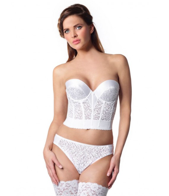 Luxe kanten Bustier met lage rug 213 1, Poirier  - The Beautiful Bride Shop