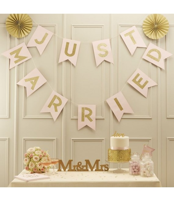 Slinger Just Married in lichtroze/goud 1 - Pastel Perfection - The Beautiful Bride Shop