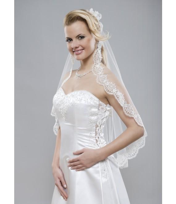 Prachtige sluier van kant en een rand van zilverdraad - The Beautiful Bride Shop