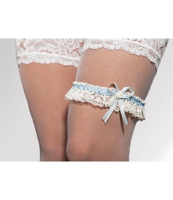 Kousenband  ivoor en Blauw - The Beautiful Bride Shop