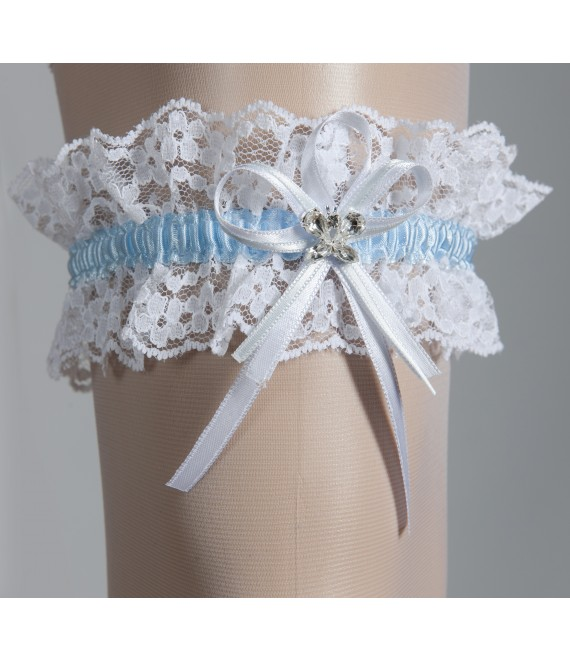 Kousenband Wit en Blauw  - The Beautiful Bride Shop