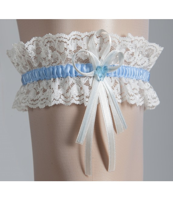 kousenband met blauw hartje ivoor en Blauw - The Beautiful Bride Shop