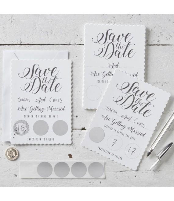 Witte Save the date kraskaart 1 - The Beautiful Bride Shop