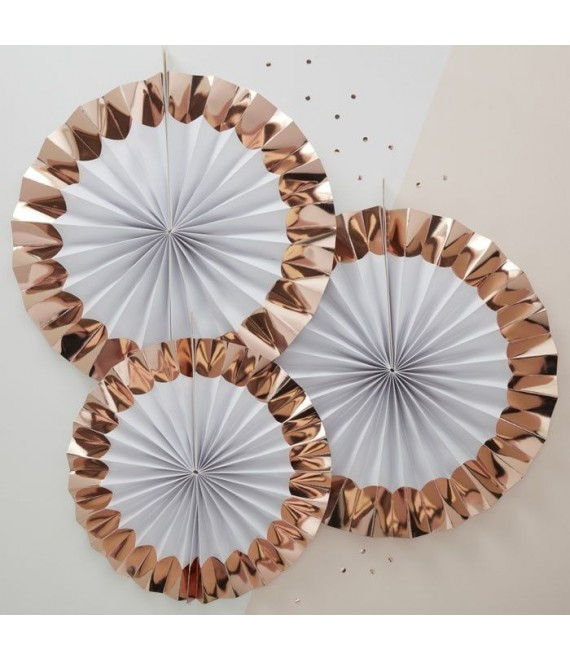 White & Rose Gold Paper Fan Decorations 1 - The Beautifulbrideshop