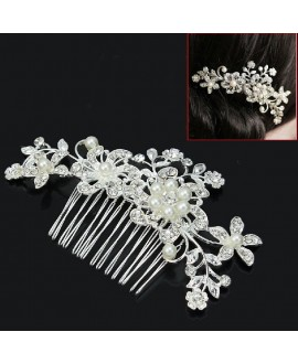 Prachtige haarkam met bloemen en parels (53250)