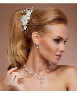 Prachtige haarkam met bloemen, kristallen en parels (4189)