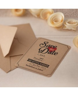 Save the date kaarten Kraft (10st) - Vintage Affair