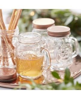 Mini Mason Jars met handvat (4st) Beautiful Botanics Ginger Ray