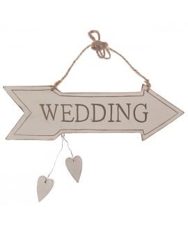 Vintage bewegwijzeringsbordje Wedding met 2 hartjes