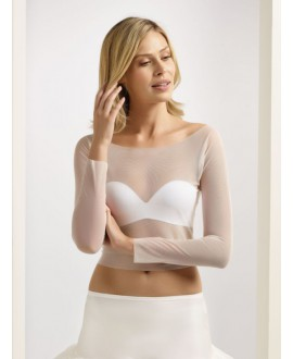 Bolero van Stretch Tule E232 Bianco Evento