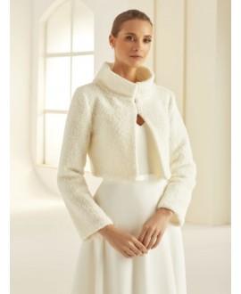 Bolero van hoogwaardige wol E291 Bianco Evento