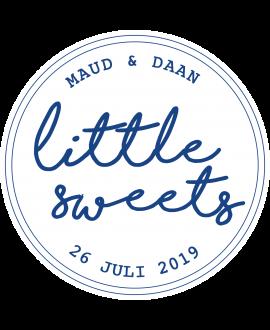 Etiket Little Sweets Blauw - rond 40x40mm (per 24 stuks)