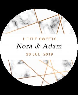 Etiket Little Sweets Marble - rond 40x40mm (per 24 stuks)