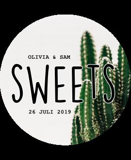 Etiket Little Sweets Cactus - rond 40x40mm (per 24 stuks)