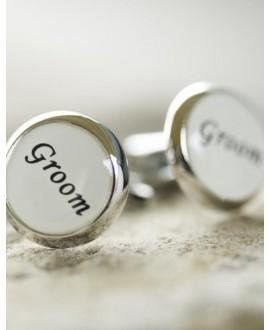 Witte manchetknopen voor de bruidegom (groom)