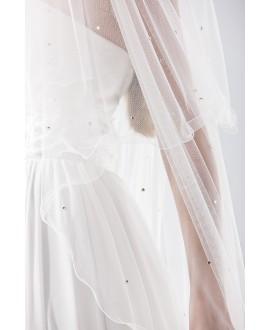 Sluier 21781 (kristallen) wit 1-laags - 150 x 65 cm | Emmerling