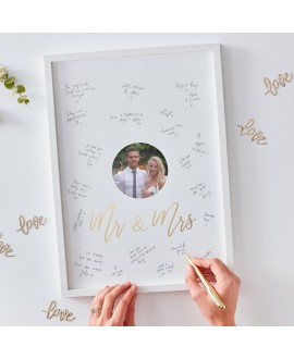 Ginger Ray Gold Wedding Mr & Mrs alternatief gastenboek fotolijst GO-172