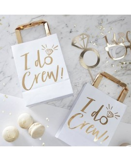 I Do Crew! Uitdeelzakjes wit-goud (5st)