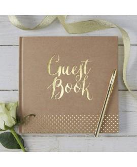 Gastenboek Kraft met gouden letters | Kraft Perfection