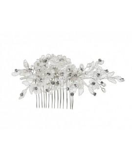 Mooie haarkam met pareltjes en kristallen (03-4213-CR-0)
