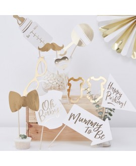"Gouden ""Baby Shower"" Photo Booth Props 
