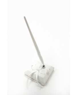 Pennenset wit/satijn WS-02