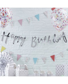 Zilveren Happy Birthday slinger | Pick & Mix