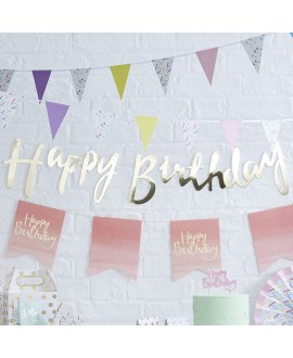 Gouden Happy Birthday slinger | Pick & Mix