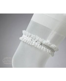 Kousenband in ivoor met Swarowski kristal