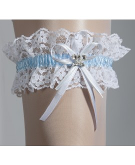Kousenband Wit en Blauw