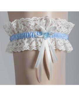 Kousenband met blauw hartje Wit en Blauw