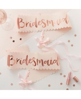 Bridesmaid sjerpen roze-roségoud Team Bride (2st)