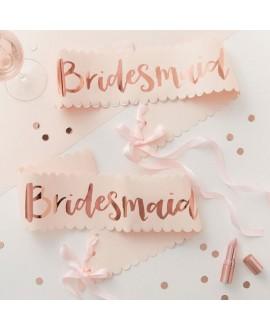 Bridesmaid sjerpen roze-roségoud Team Bride (2st)