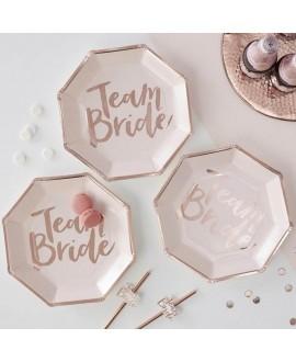 roze-roségouden Team bride bordjes