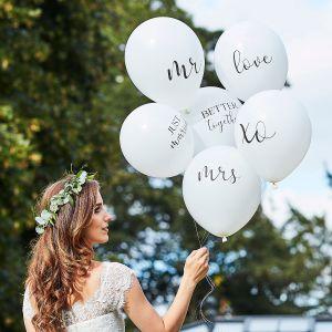 Ginger Ray BR-374 Botanical Wedding Ballonnen Wit
