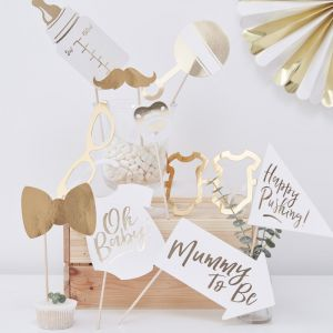 """Gouden """"Baby Shower"""" Photo Booth Props 