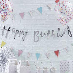 Zilveren Happy Birthday slinger | Pick & Mix