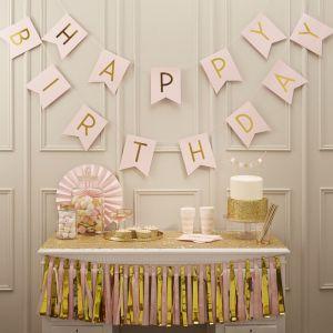 Roze Happy Birthday slinger | Pastel Perfection