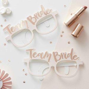 Roze-roségouden Team bride brillen (8st)