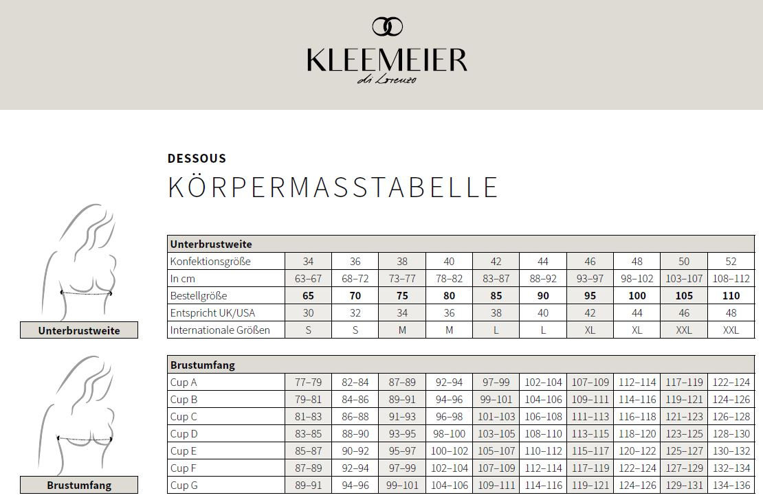 Maattabel Lingerie Kleemeier